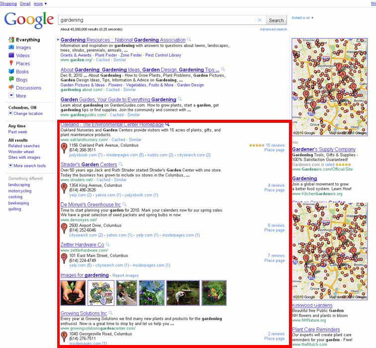 You can see how different types of listings are injected into the natural SERPs