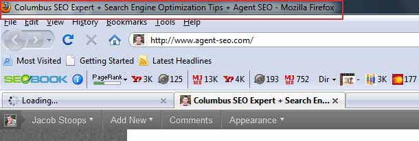 The old Agent SEO Title in the Browser Window