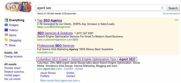 The old Agent SEO Title in Search Results
