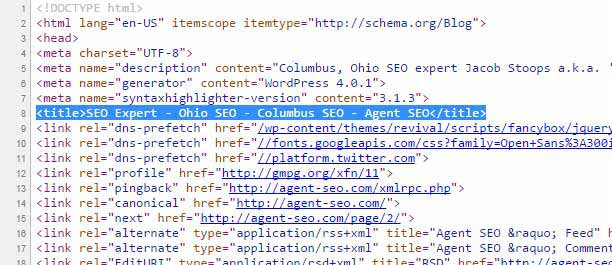 The old Agent SEO Title in the source code